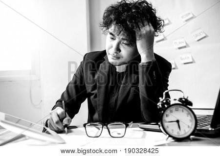 busy and headache person unsuccessful, businessman on deadline