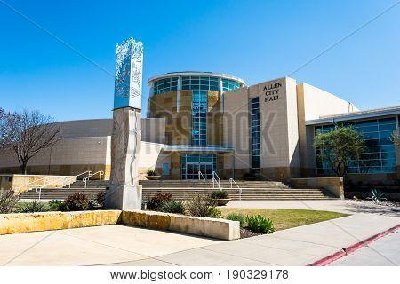 Allen Texas. USA - March 28 2015. Allen City Hall