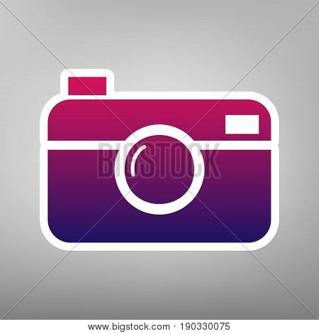 Digital photo camera sign. Vector. Purple gradient icon on white paper at gray background.