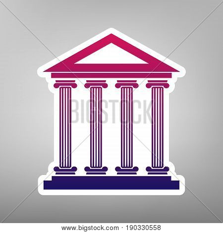 Historical building illustration. Vector. Purple gradient icon on white paper at gray background.