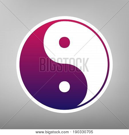 Ying yang symbol of harmony and balance. Vector. Purple gradient icon on white paper at gray background.