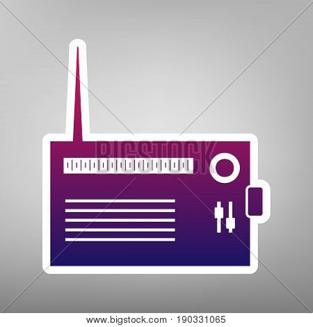 Radio sign illustration. Vector. Purple gradient icon on white paper at gray background.