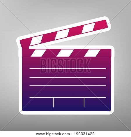 Film clap board cinema sign. Vector. Purple gradient icon on white paper at gray background.