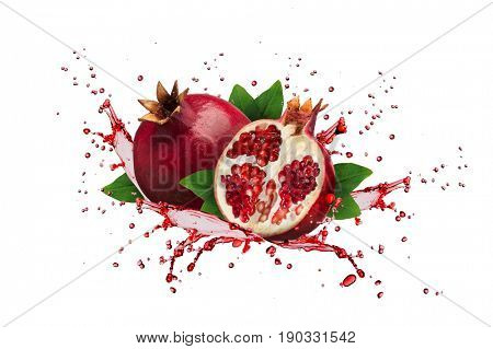 Image of ripe pomegranate and leaves isolated on white background