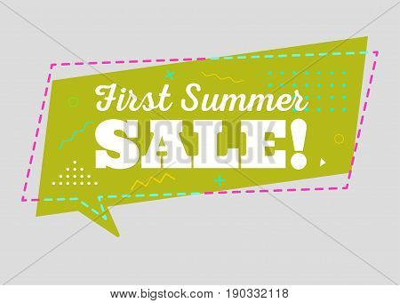 Trendy Sale Geometric Vector Bubble. First Summer Sale Tag Business Label Promo Badge. Flat Shape Comic Style. Bright Retro Background with Memphis Style Pattern for Sale Promo Marketing.