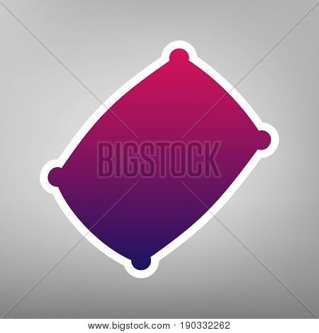 Pillow sign illustration. Vector. Purple gradient icon on white paper at gray background.