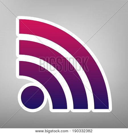 RSS sign illustration. Vector. Purple gradient icon on white paper at gray background.