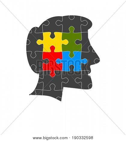 Man head in jigsaw puzzle
