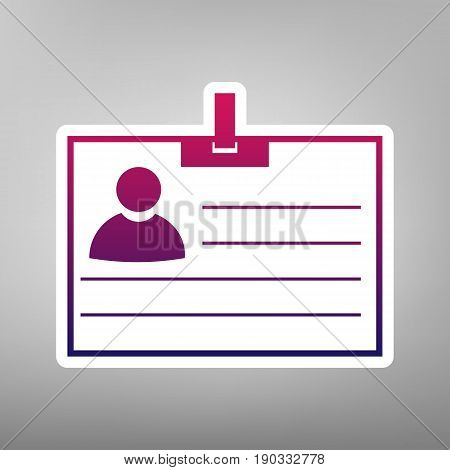 Id card sign. Vector. Purple gradient icon on white paper at gray background.