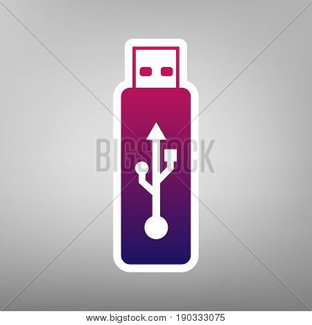 Vector USB flash drive sign. Vector. Purple gradient icon on white paper at gray background.