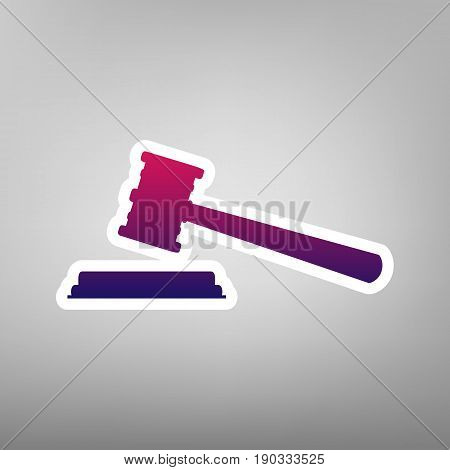 Justice hammer sign. Vector. Purple gradient icon on white paper at gray background.