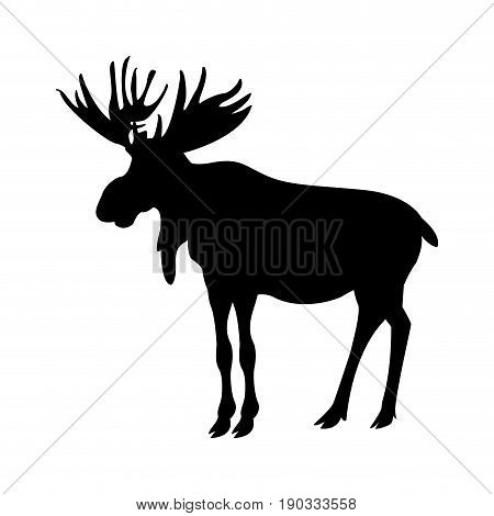 silhouette american elk animal forest wild life image vector illustration