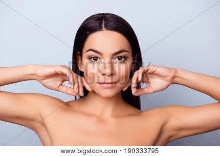 Beauty And Health Concept. Young Pretty Latin Mulatto Lady Is Touching Gently Her Attractive Healthy