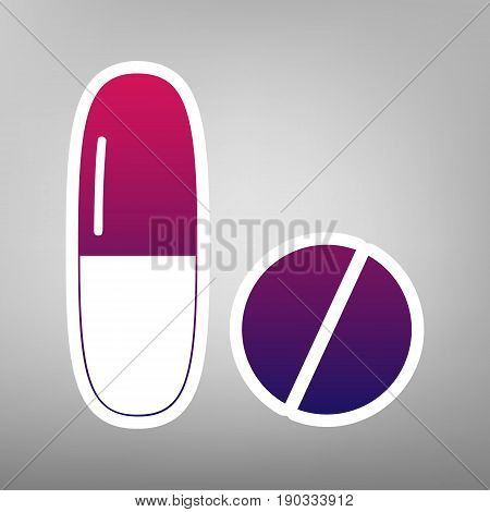 Medical pills sign. Vector. Purple gradient icon on white paper at gray background.