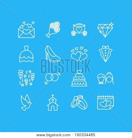 Vector Illustration Of 16 Engagement Icons. Editable Pack Of Couple, Card, Bridal Bouquet And Other Elements.
