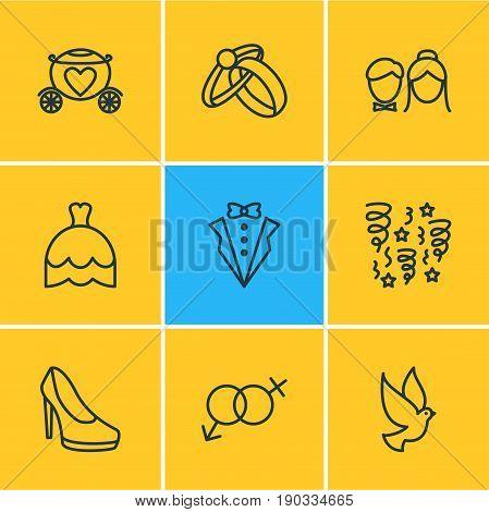 Vector Illustration Of 9 Wedding Icons. Editable Pack Of Sandal, Couple, Bridegroom Dress Elements.