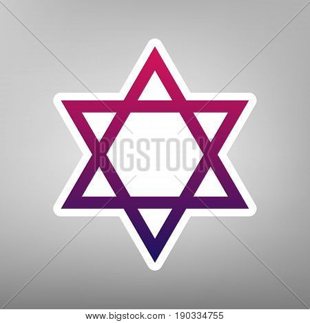 Shield Magen David Star. Symbol of Israel. Vector. Purple gradient icon on white paper at gray background.