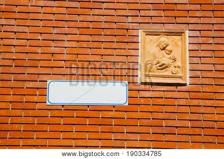 Milan   Italy Old Church Concrete Wall  Brick   The    Madonna
