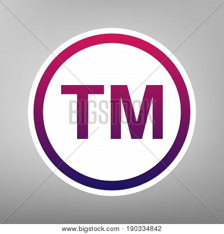 Trade mark sign. Vector. Purple gradient icon on white paper at gray background.
