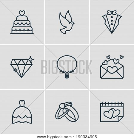 Vector Illustration Of 9 Marriage Icons. Editable Pack Of Bridegroom Dress, Calendar, Jewelry And Other Elements.