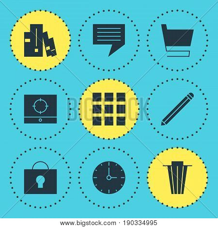 Vector Illustration Of 9 Internet Icons. Editable Pack Of Grid, Chat, Trash And Other Elements.