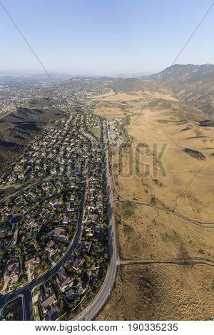 Aerial view of suburban Newbury Park homes and parkland in Ventura County California.