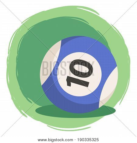 Billiard Ball Number 10 Striped Blue. Vector illustration of striped color blue and white billiards ball number ten isolated on green white background.