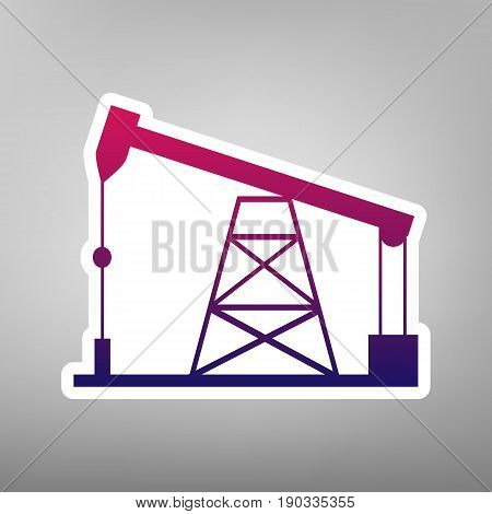 Oil drilling rig sign. Vector. Purple gradient icon on white paper at gray background.