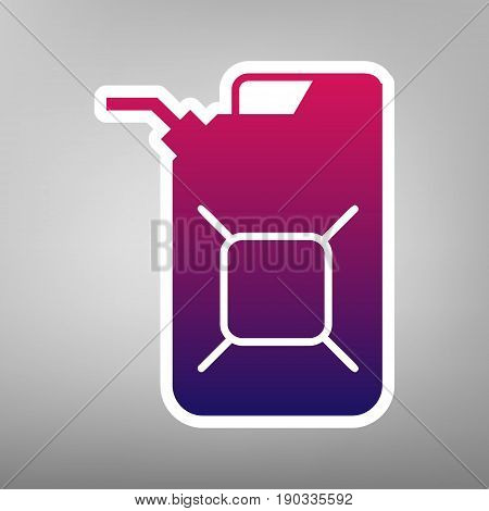 Jerrycan oil sign. Jerry can oil sign. Vector. Purple gradient icon on white paper at gray background.