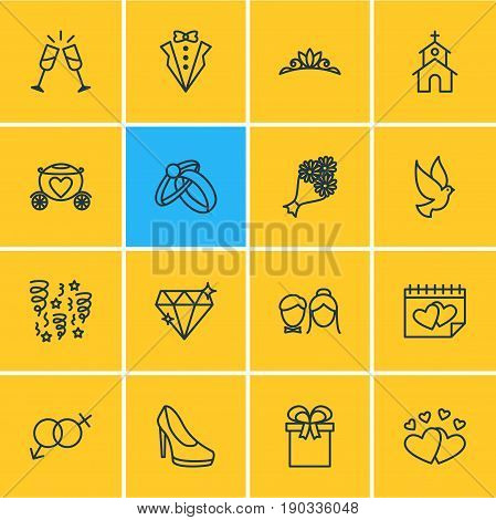 Vector Illustration Of 16 Marriage Icons. Editable Pack Of Bridegroom Dress, Building, Pigeon And Other Elements.