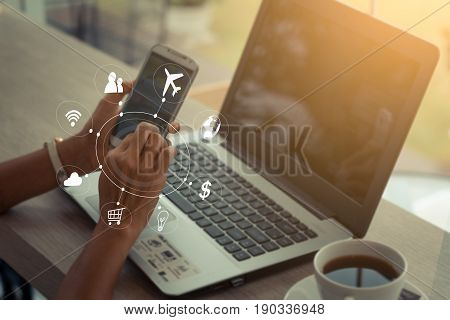 Business woman using SEO user interface icon work flow digital4.0 system technology: Multichannel m-banking online payment IOT app communication network internet mobile application smartphone concept
