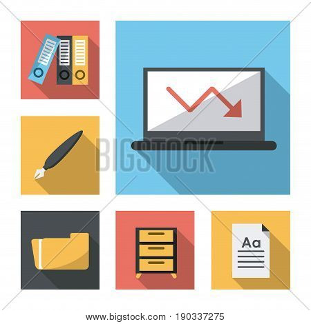 white background with business leaflet model four vector illustration