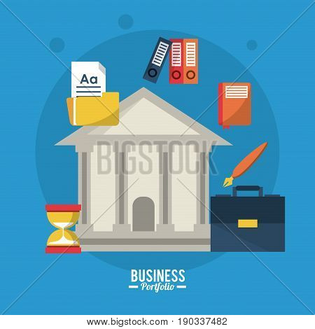 colorful poster business portfolio with parthenon and briefcase pen sheet and files vector illustration