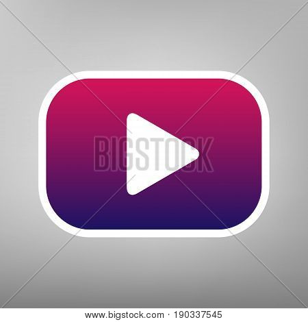 Play button sign. Vector. Purple gradient icon on white paper at gray background.