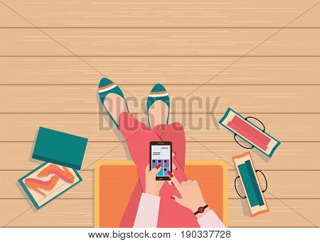 Online shopping concept with top view of female using smart phone to searching internet to shopping fashion vector illustration.