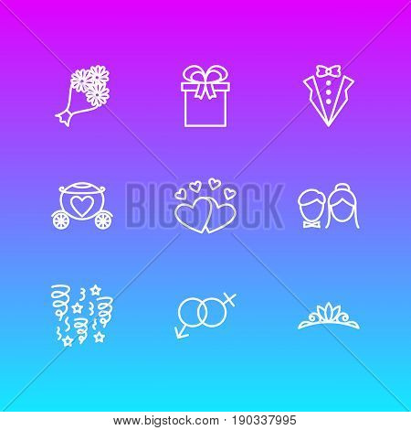 Vector Illustration Of 9 Wedding Icons. Editable Pack Of Bridegroom Dress, Accessories, Chariot And Other Elements.