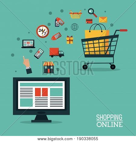 colorful poster shopping online with desktop computer and shopping cart vector illustration