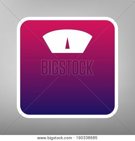 Bathroom scale sign. Vector. Purple gradient icon on white paper at gray background.