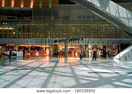 DOHA, QATAR - CIRCA JUNE, 2017: inside Hamad International Airport of Doha, the capital city of Qatar.