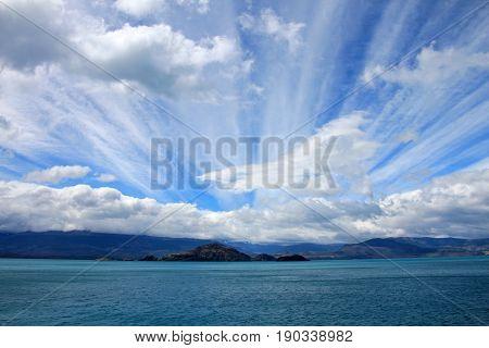 General Carrera Lake with islands, Patagonia, Chile