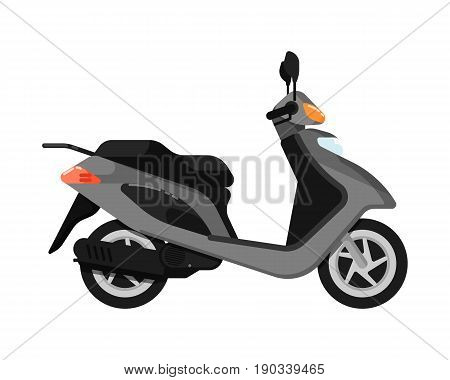 City scooter isolated icon in flat design. Modern auto vehicle, outdoor people transportation and travel activity vector illustration.