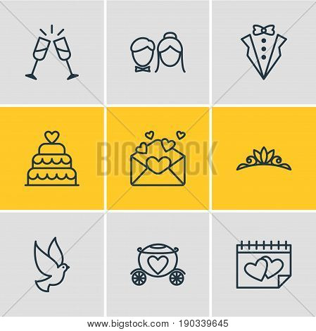 Vector Illustration Of 9 Marriage Icons. Editable Pack Of Wineglass, Accessories, Bridegroom Dress And Other Elements.