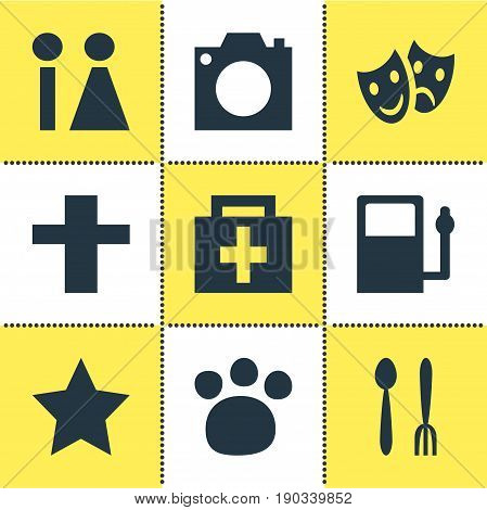 Vector Illustration Of 9 Map Icons. Editable Pack Of Refueling, Toilet, Drugstore And Other Elements.