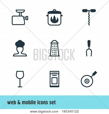 Vector Illustration Of 9 Cooking Icons. Editable Pack Of Wine Opener, Skillet, Wine And Other Elements.