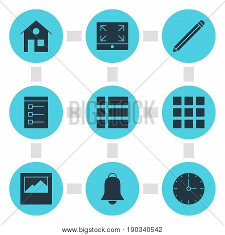 Vector Illustration Of 9 Web Icons. Editable Pack Of Notification, List, Grid And Other Elements.