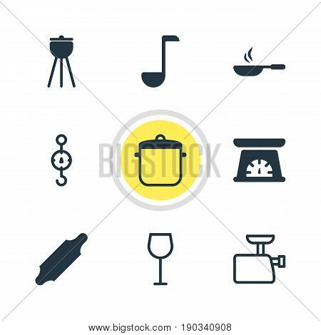 Vector Illustration Of 9 Cooking Icons. Editable Pack Of Soup Spoon, Steelyard, Wine And Other Elements.
