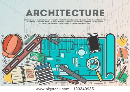 Architecture top view banner in line art style vector illustration. Building project, design and construction management, architectural drawing, engineer workplace, estate development business concept
