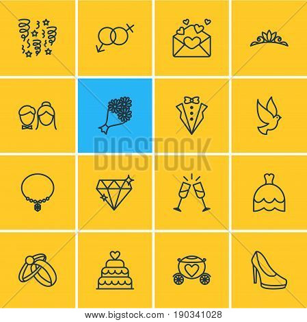 Vector Illustration Of 16 Marriage Icons. Editable Pack Of Pigeon, Bridegroom Dress, Card And Other Elements.
