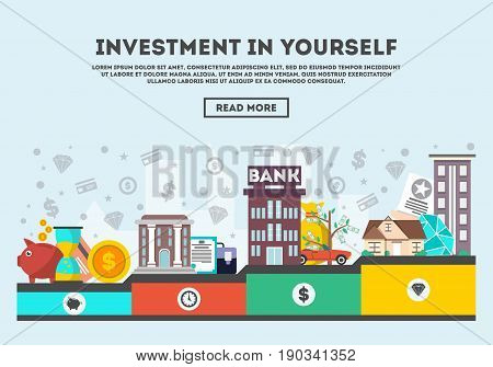 Investment in yourself vector illustration. Design concept for smart investment, finance and banking, career growth, securities and real estate, strategic management, financial analysis and planning
