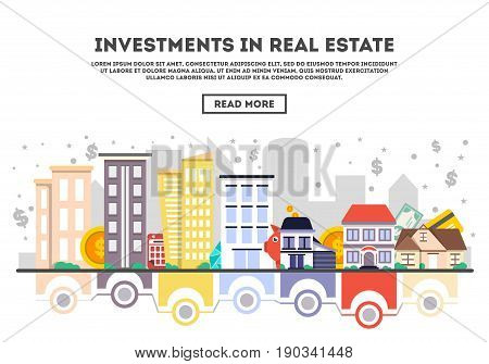 Investments in real estate vector illustration. Design concept for property investment, buying and renting commercial real estate, property management and development, financial analysis and planning